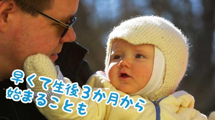 赤ちゃんを抱っこするパパ