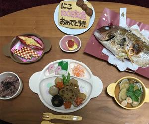 ワンプレートでまとめた可愛い祝い膳