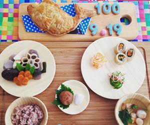 鯛の形のアップルパイがオシャレな100日祝いの膳