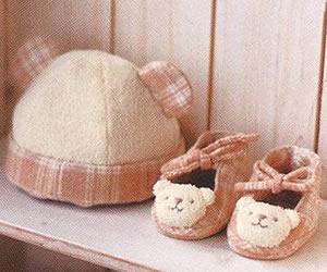 手作りオーガニックコットンキット クマの帽子とベビーシューズ手作りキットの画像