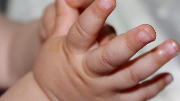 誕生したばかりの新生児の手