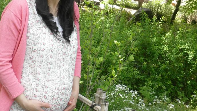 旅行先で散歩する安定期の妊婦