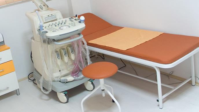 胎児ドックを受けるための診察台