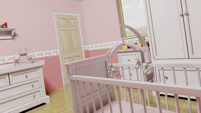 転落防止柵が施されたピンクのベビーベッド