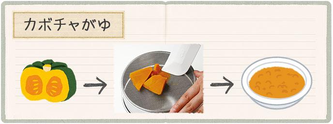 レシピ初期かぼちゃがゆ