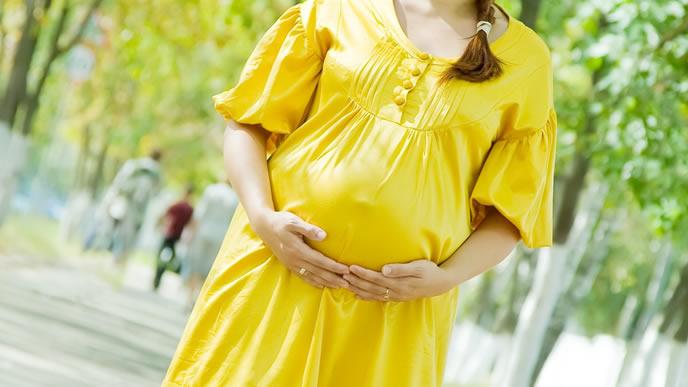 適度な運動をするために外にウォーキングに出かける妊婦