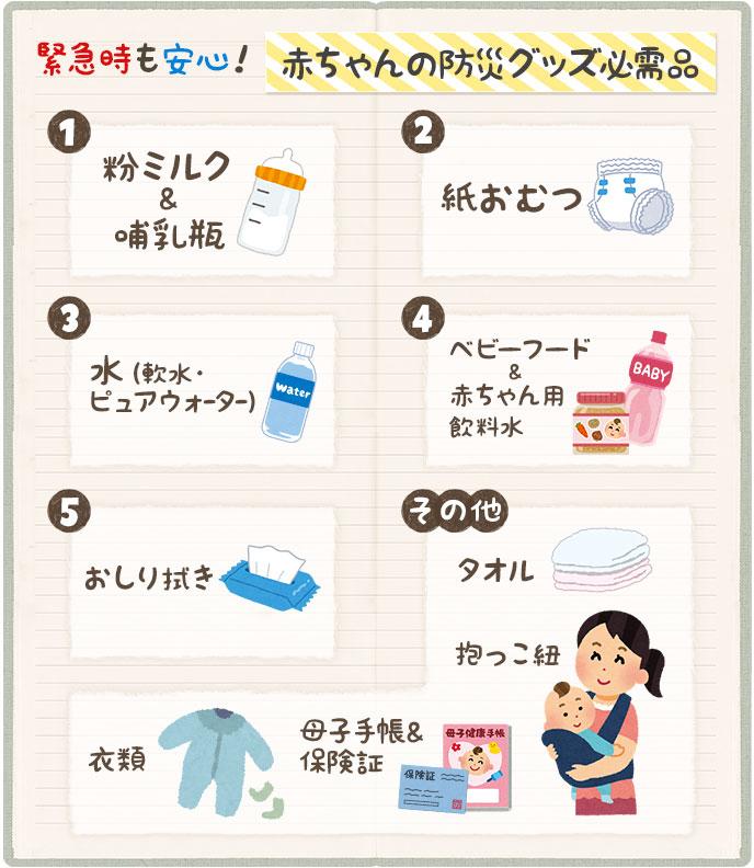 事前に準備したい赤ちゃんの防災グッズ必需品