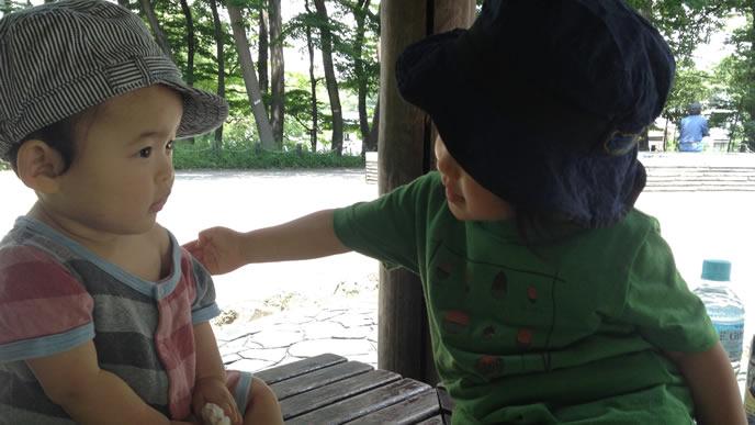 日陰で暑さをしのぐ兄弟