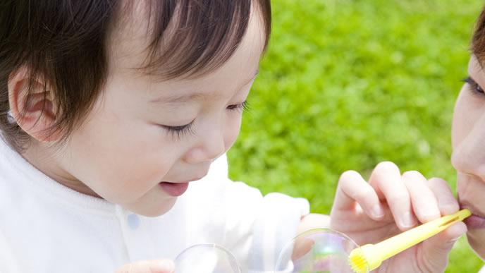 公園にでかけてシャボン玉で遊ぶ親子