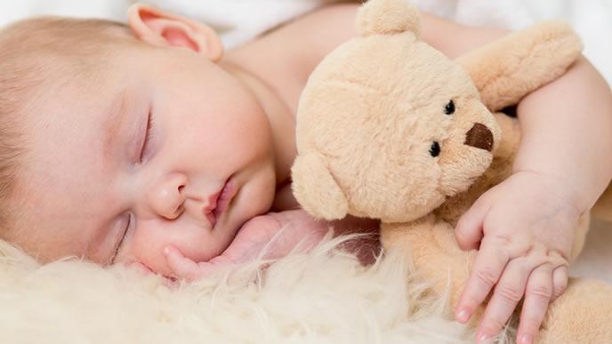 お気に入りのクマさんと一緒にお昼寝する赤ちゃん
