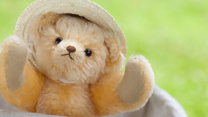 夏に麦わら帽子をかぶるクマのぬいぐるみ