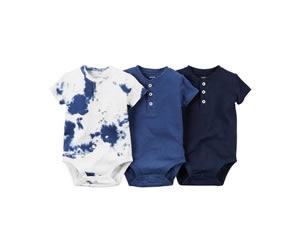 3-Pack Short-Sleeve Henley Bodysuitsの画像