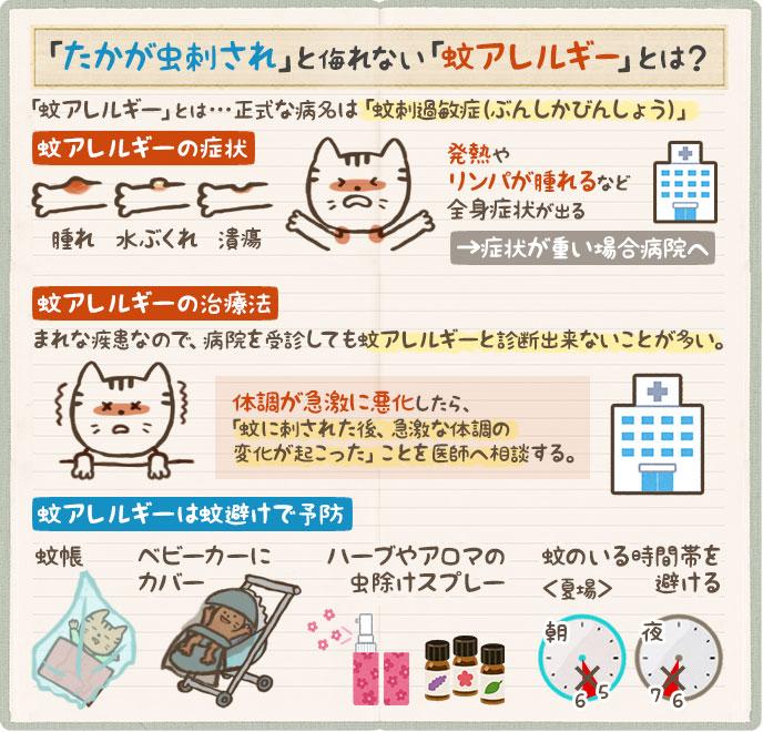 蚊アレルギーの症状や対策