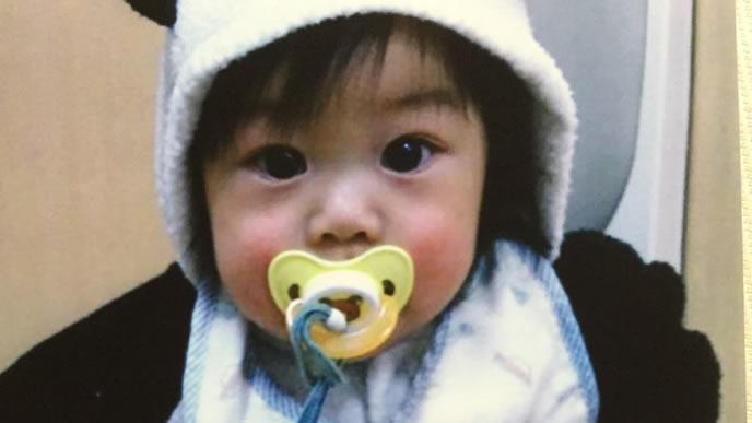 おしゃぶりをしながらパンダのきぐるみを着た赤ちゃん