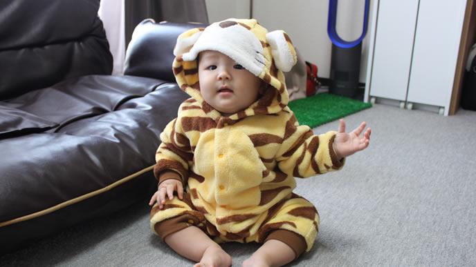 ハーフバースデーに仮装する赤ちゃん