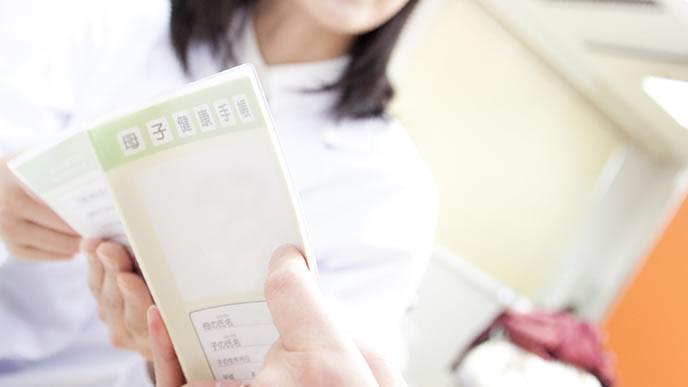 母子手帳を眺め赤ちゃんの成長を確かめる妊婦