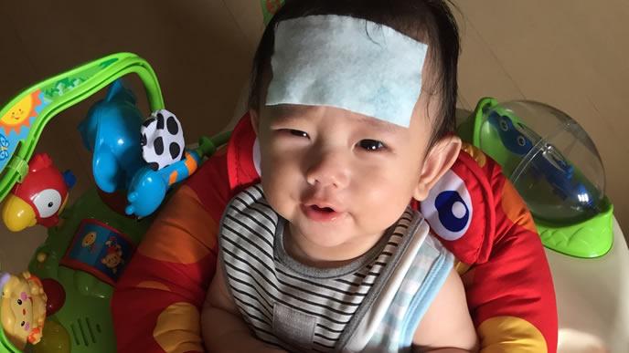 ヘルパンギーナで高熱が出ている赤ちゃん