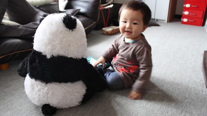 お気に入りのパンダと仲良しの赤ちゃん