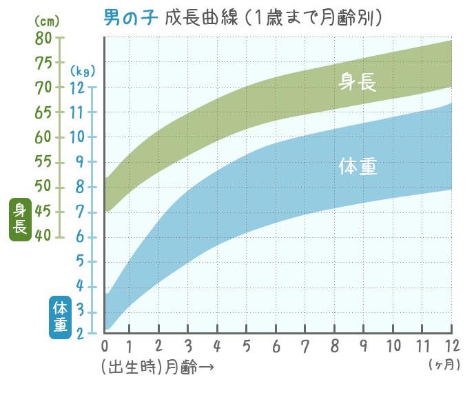 1歳までの男の子の成長曲線