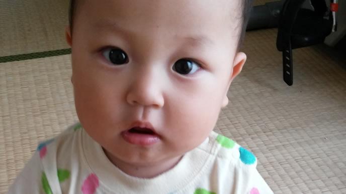 ママに駆け寄る甘えん坊の赤ちゃん