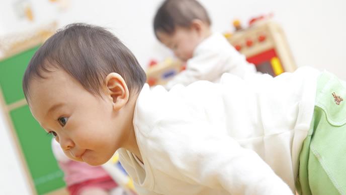感染性の目の病気が治り保育園に登園する赤ちゃん
