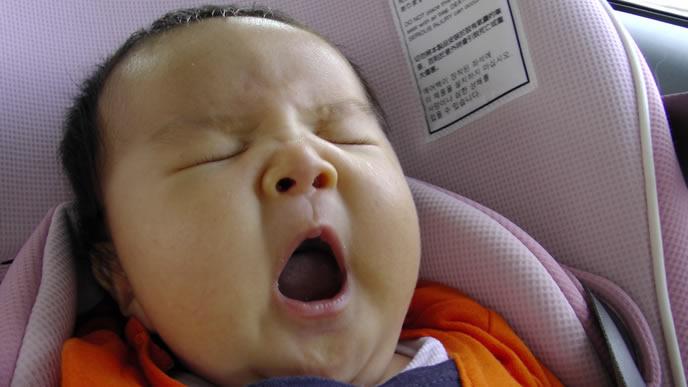 長旅に疲れてあくびをする赤ちゃん