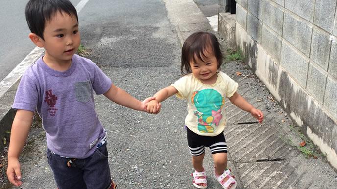 仲良く手を繋いで散歩する兄妹