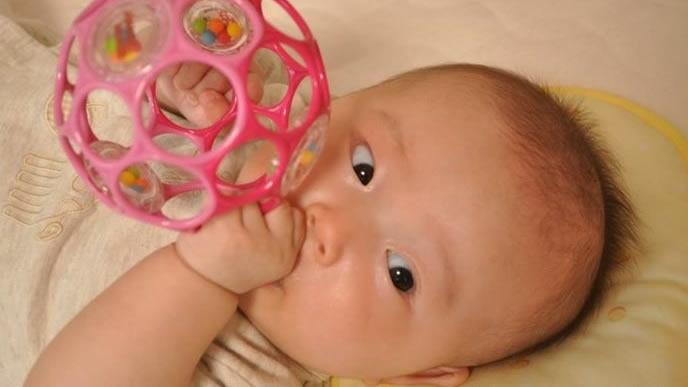 オーボールに夢中で噛みつく赤ちゃん