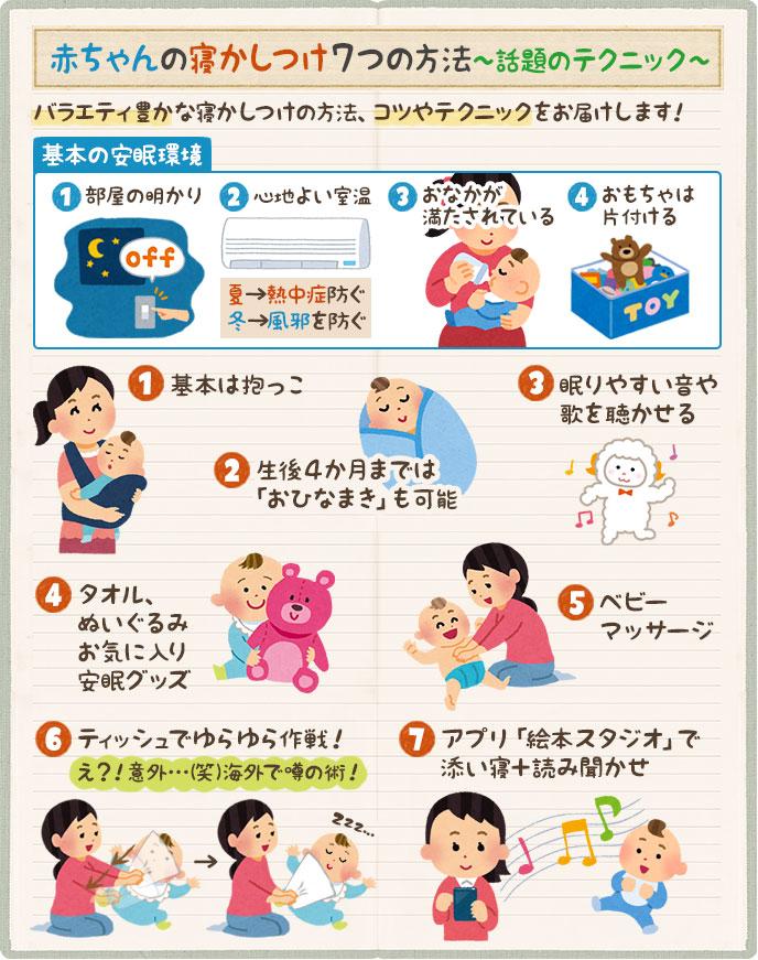 7つの赤ちゃん寝かしつけテクニック