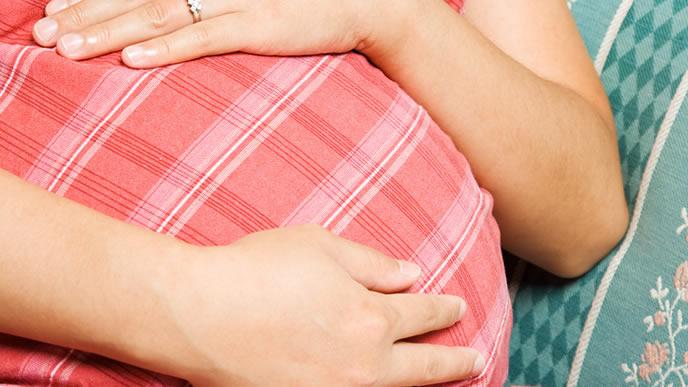 お腹をなでる妊娠28週のママ
