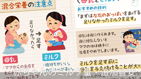 赤ちゃんのミルク量・混合栄養や離乳食のミルク追加量目安