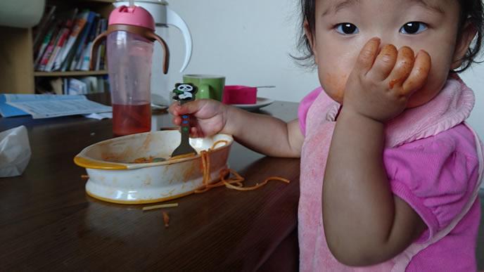 咳が良くなりパスタが食べられた赤ちゃん