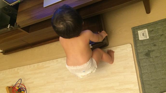 テレビに夢中でつかまり立ちをした赤ちゃん