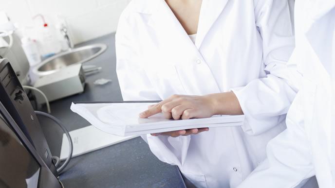 母体血清マーカーテストの検査結果を見る医師