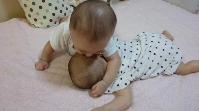 ハイハイしながら仲良く遊ぶ双子