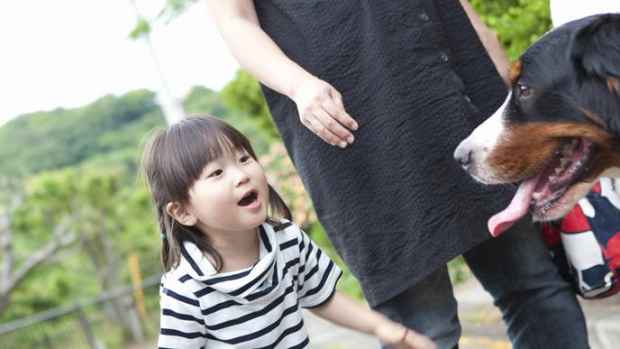 産休中に子供と散歩をする妊婦