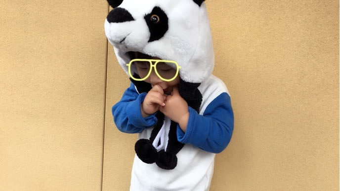 パンダの被り物をかぶるひょうきんな男の子