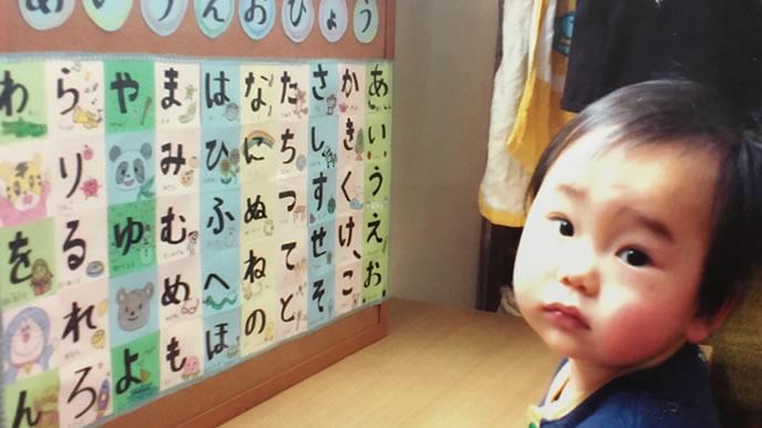 ひらがなの表が意味不明で困る1歳の赤ちゃん