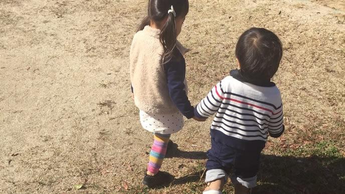 仲良く外におでかけする姉と弟