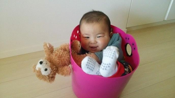 洗濯カゴにハマる生後9ヶ月の赤ちゃん