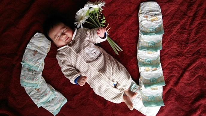 生後2ヶ月の赤ちゃんのおむつアート
