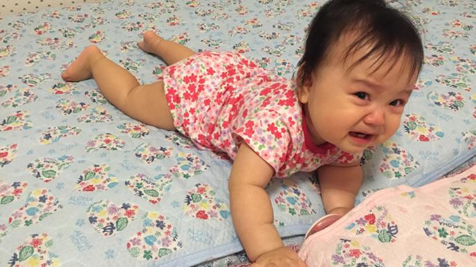 ハイハイ中に泣き出してしまった赤ちゃん