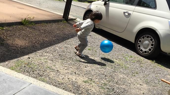 庭でボール遊びをする男の子
