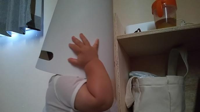ゴミ箱をヘルメットのようにかぶる赤ちゃん