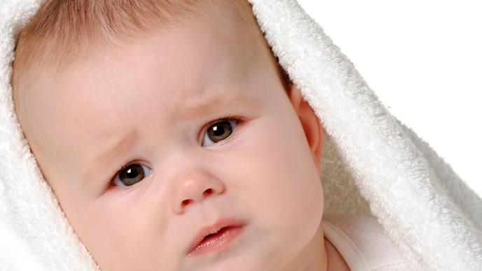頭の洗いすぎで機嫌が悪くなった赤ちゃん