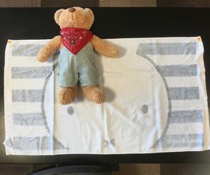 タオルを広げて赤ちゃんの場所を決める