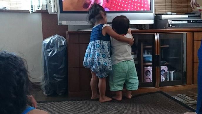 弟と一緒にテレビを見る姉