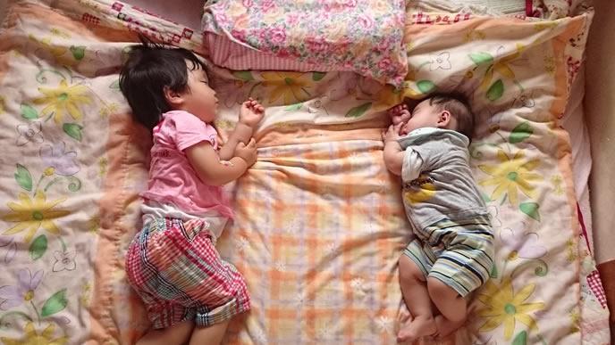 歯ぎしりしながら対面で寝る姉弟