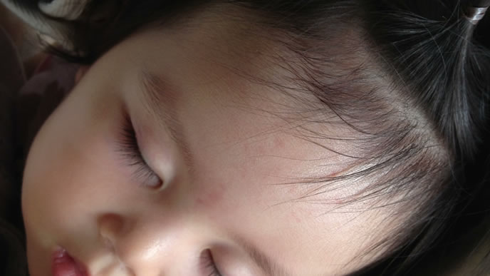 ママに髪を結んでもらっている間に熟睡した女の子