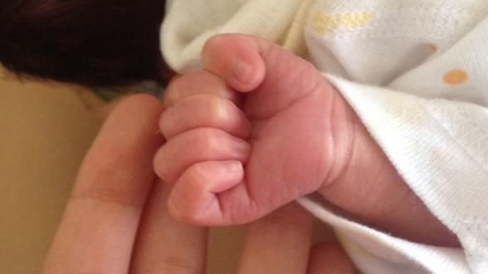 グーで握りしめる赤ちゃんとママの手
